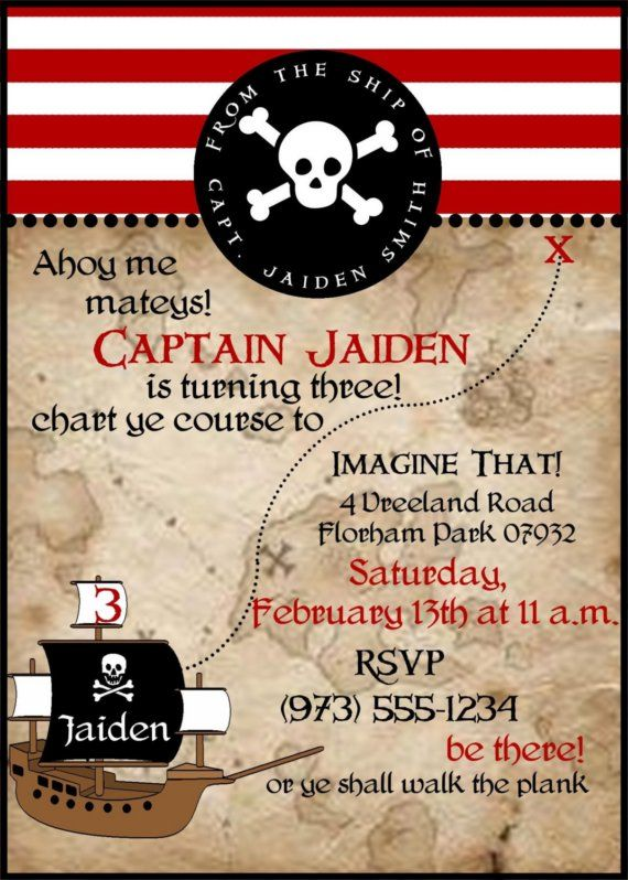 Digital File Pirate Themed Birthday Party Invitation By Paper