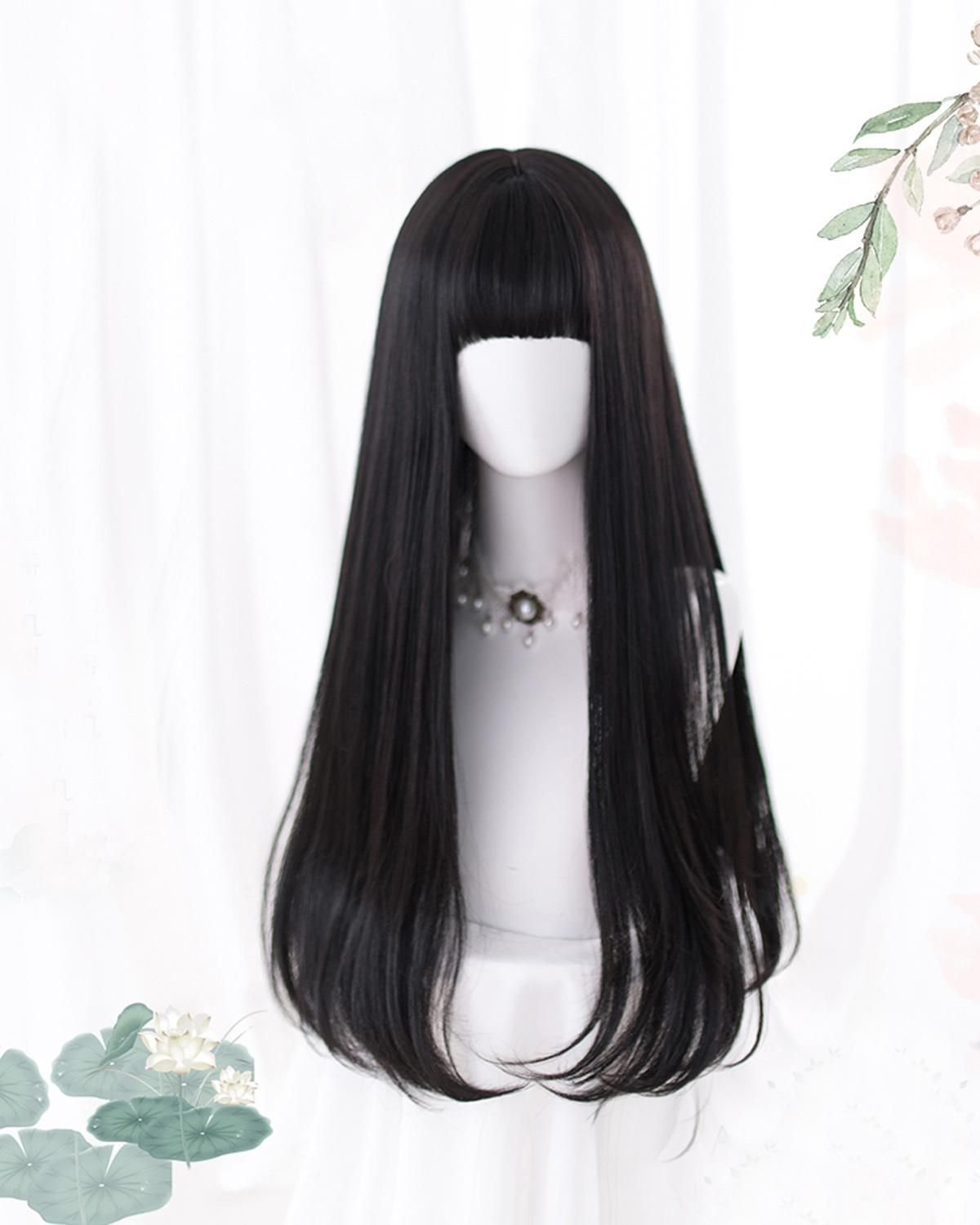 Photo of Lolita Anime Cosplay Long Straight Black With Bangs Synthetic Cute Wig