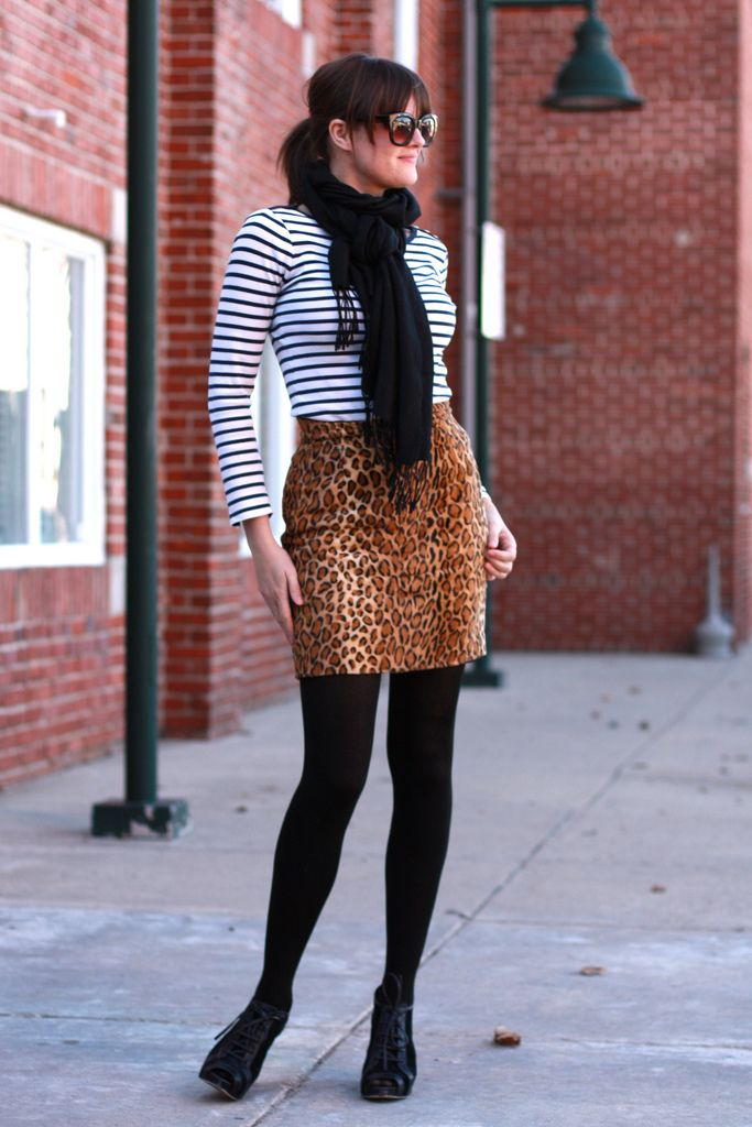 What I Wore / Jessica Quirk  Love this outfit!  Stripes and Leopard Print!!