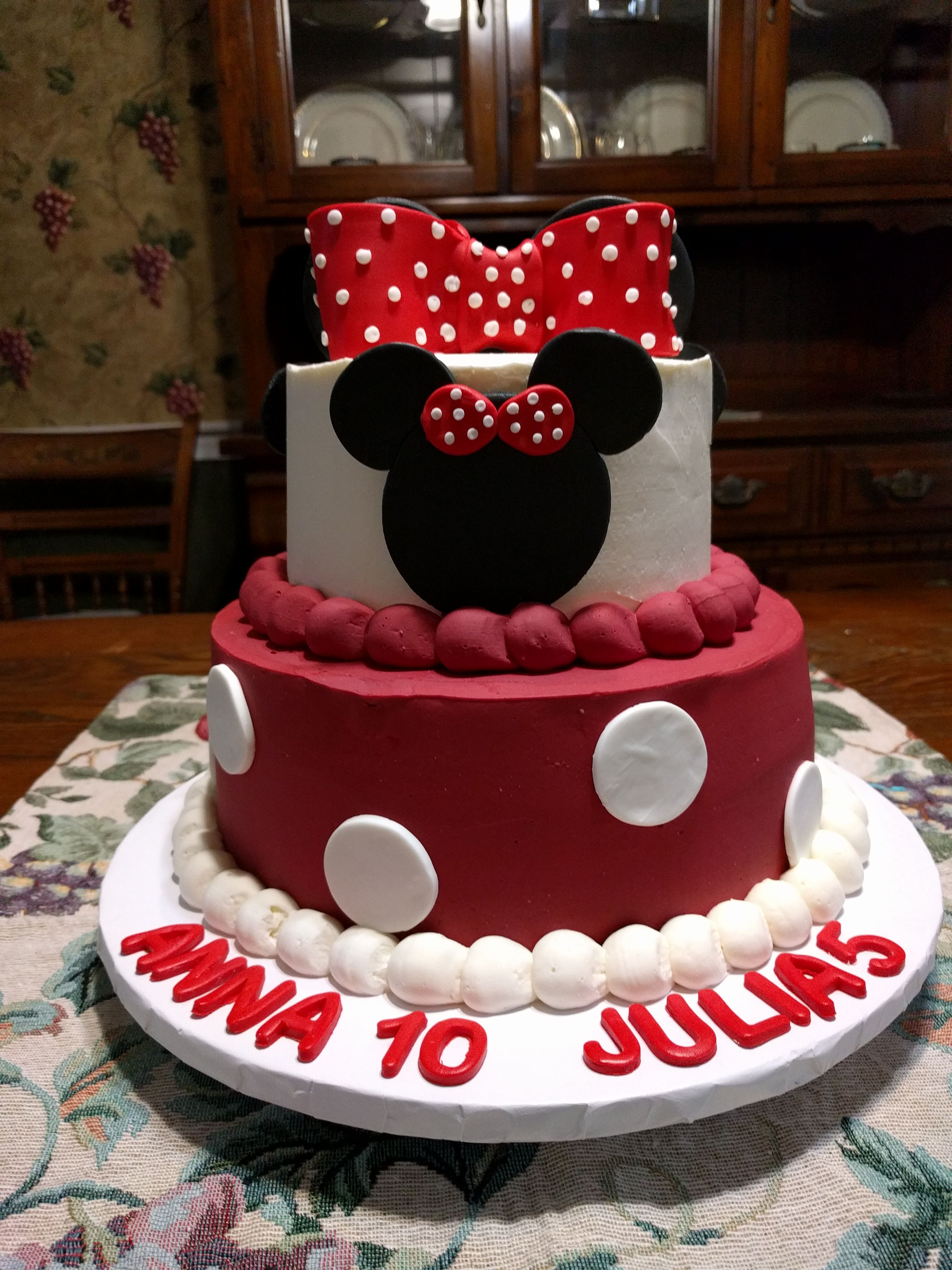 Tremendous Minnie Mouse Birthday Cake In Red Entire Cake Is Butter Cream Funny Birthday Cards Online Overcheapnameinfo