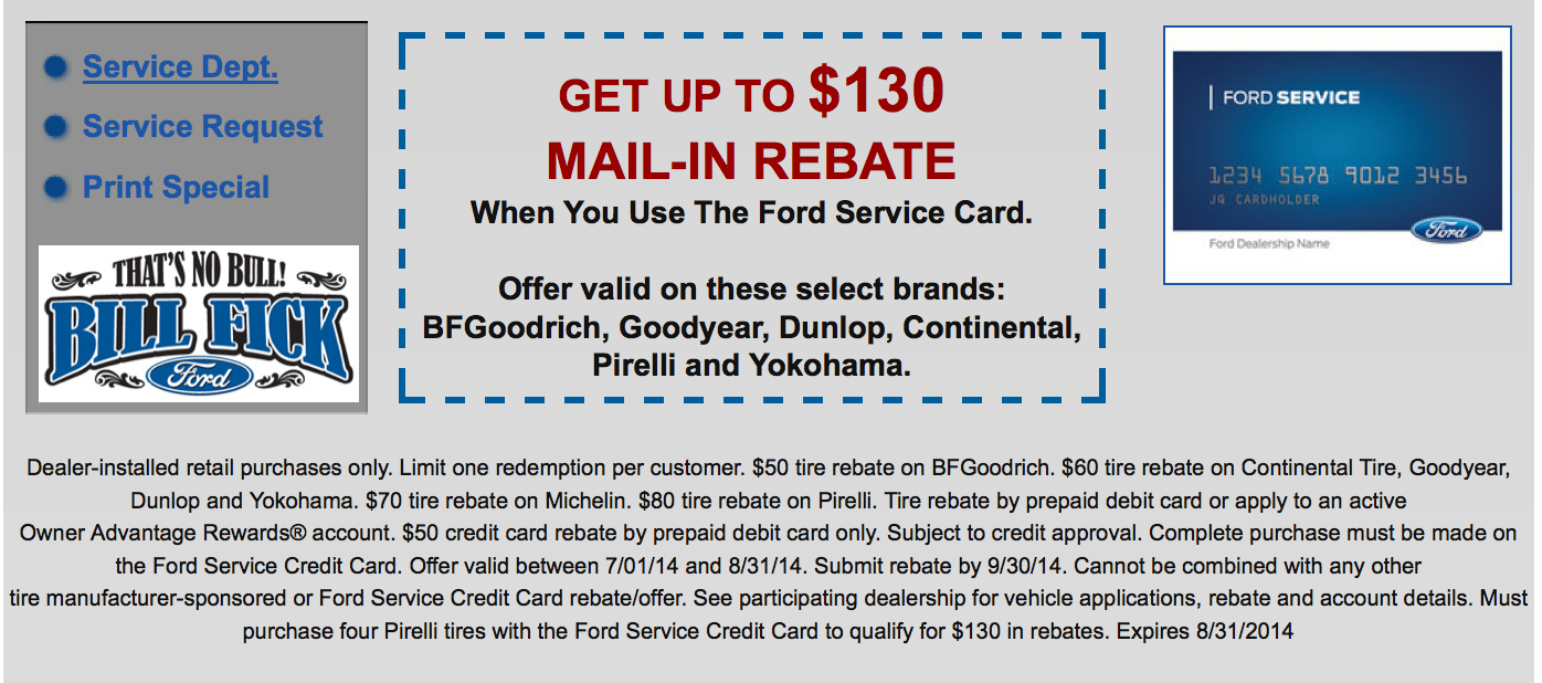 Great Ford Service Repair Specials On Select New Tires At Bill Fick