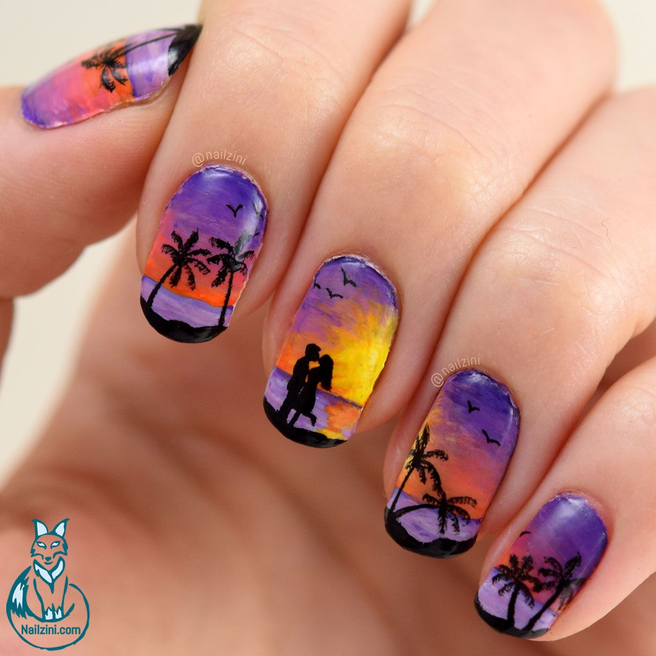 Nailzini: A Nail Art Blog: Lovers Beach Sunset Valentine Nail Art ...