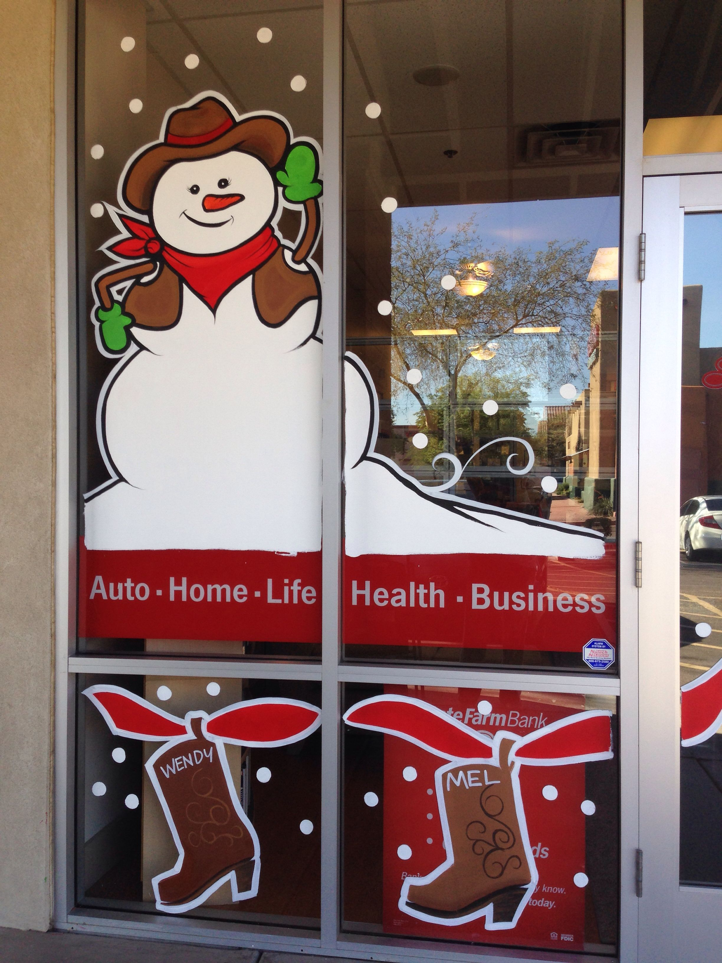 Cowboy Christmas At State Farm Window Painting Pinterest