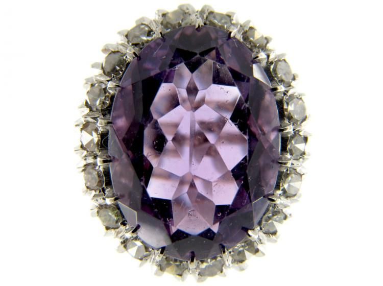 A large 18ct white gold amethyst and diamond cluster ring made around 1950 – 1960. A good looking ring with wow factor. You might also like... Large Victorian Rose Diamond & Sapphire Cluster Ring £5,250 Opal & Diamond Ring £1,500 Large Amethyst Diamond Ring £1,875 Ruby & Diamond Cluster Ring £1,500 Large Victorian Diamond Cluster …