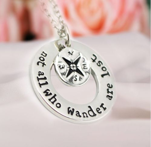 "Hot Wanderlust Hand Stamped Travelers Necklace ""Not All Who Wander Are Lost"""