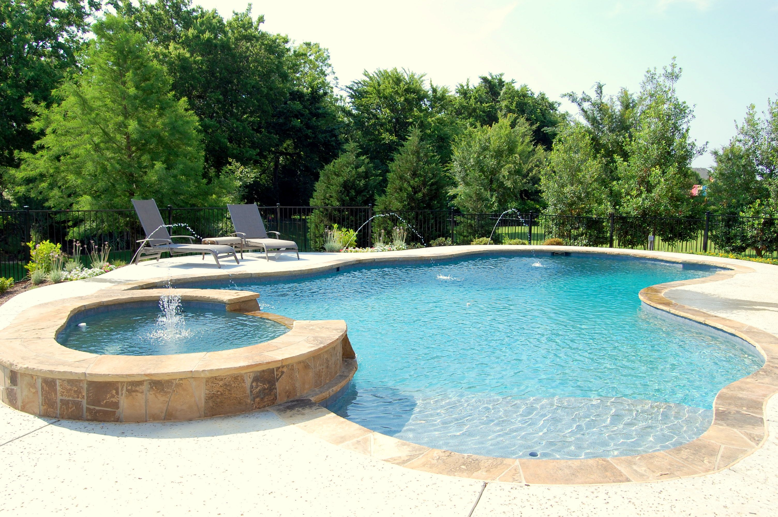 Pools images freeform swimming pool with spa southlake for Pool design okc