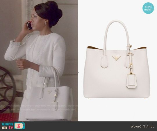 Olivia's white Prada bag on Scandal.  Outfit Details: http://wornontv.net/53444/ #Scandal