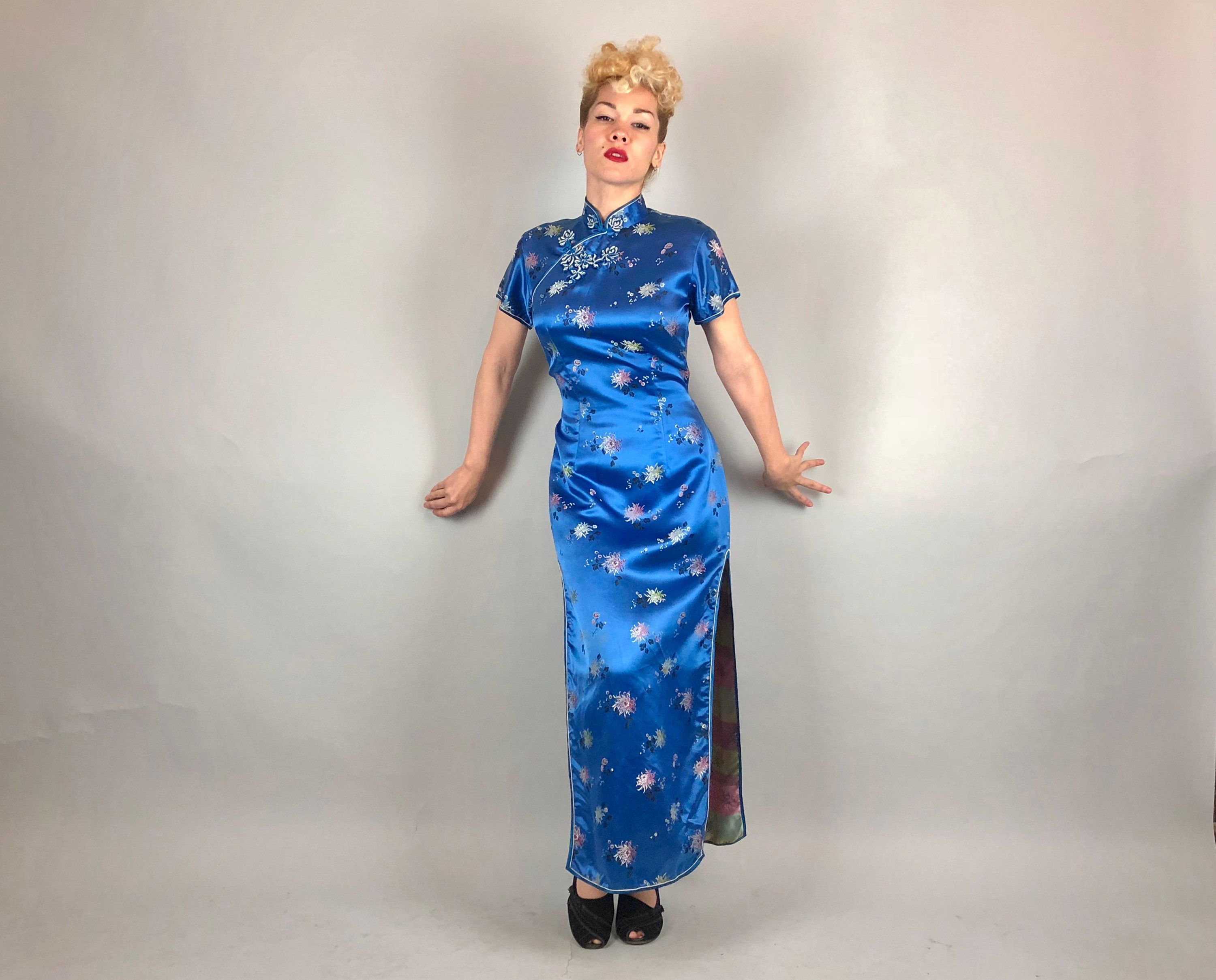 Vintage 1940s Dress | 40s Silk Sapphire Blue Traditional Chinese ...