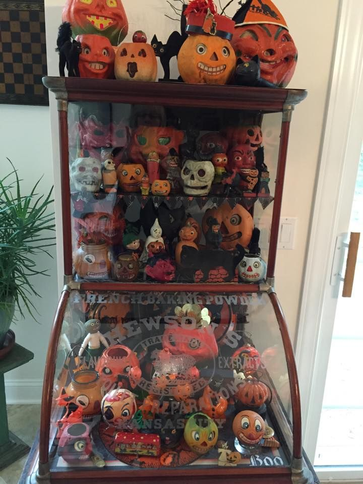 vintage halloween display cabinet