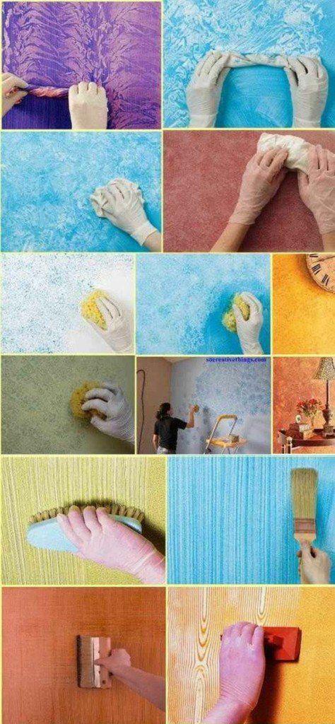 wände blau lila braun schwamm streichen bunt anleitung - wohnzimmer lila braun