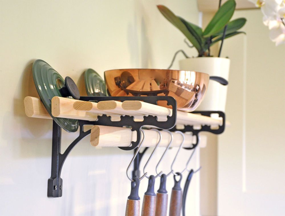 Kitchen Shelf Rack 6 Wooden Laths And Solid Cast Iron