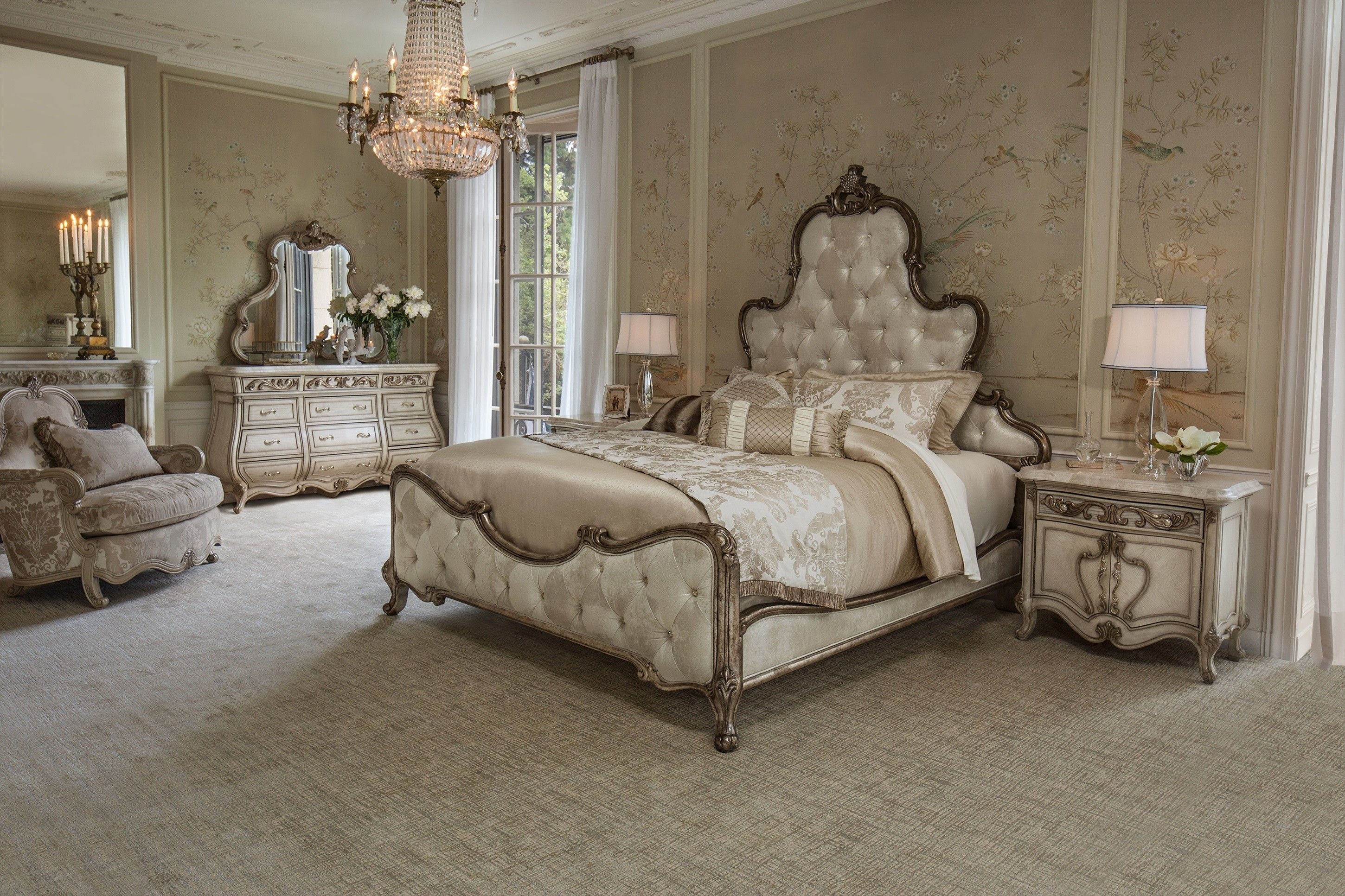 Traditional French Style Champagne Bedroom (With images