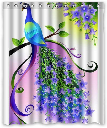 Outlet Seller Custom Elegant Charming Peacock With Purple Flowers
