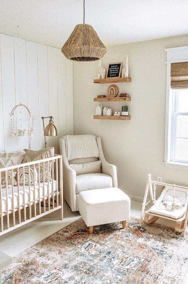 Coordinate With Your Room's Color Palette   Gender Neutral Baby Nursery   #babyroom #genderneutral #rockingchair #cribs