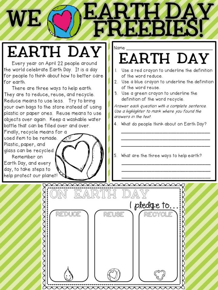 Earth Day FREEBIES Includes A Prehension Selection With