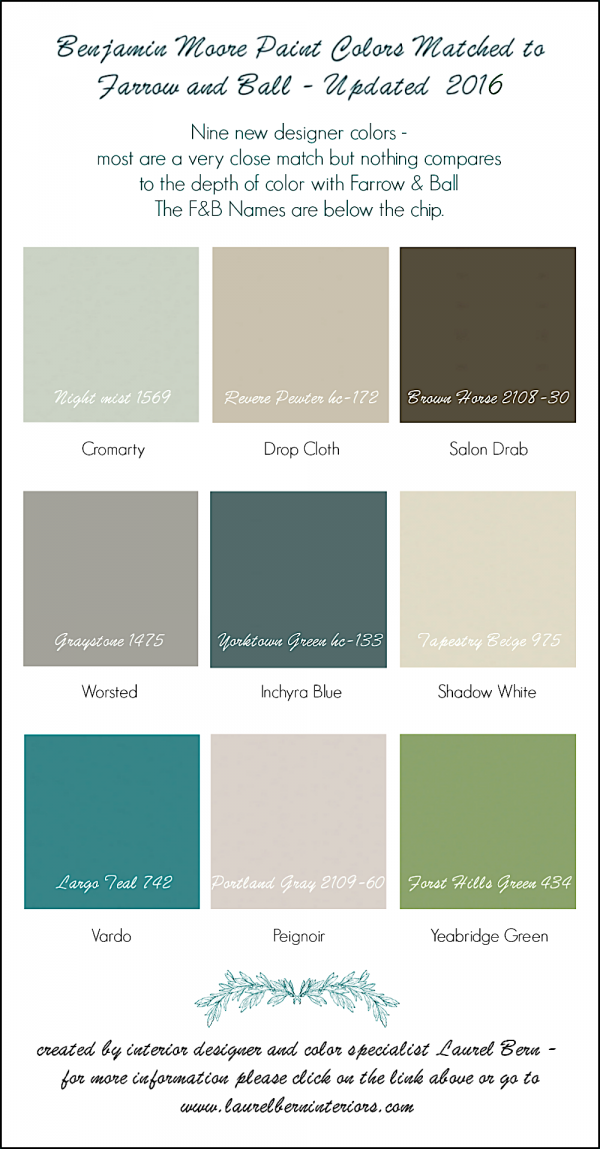 Nine New Farrow Ball Colors 2016 Matched To Benjamin Moore Benjamin Moore Colors Farrow And Ball Paint Matching Paint Colors