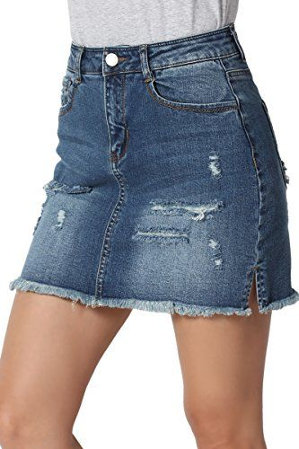 4915386dccb3d TheMogan Junior s Raw Slit Hem High Waist Distressed Denim Mini Skirt Dark