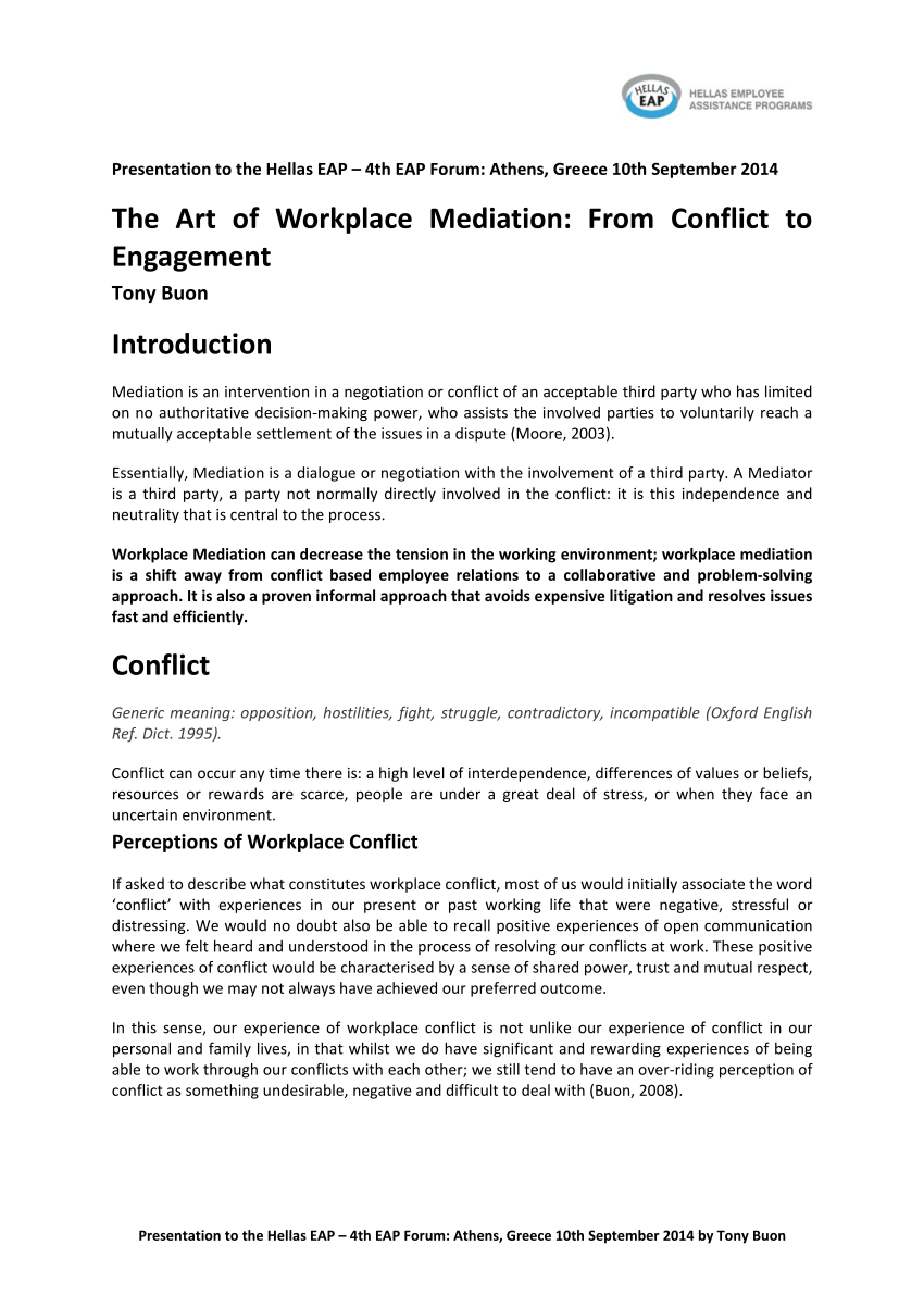 Pdf The Art Of Workplace Mediation From Conflict To Engagement