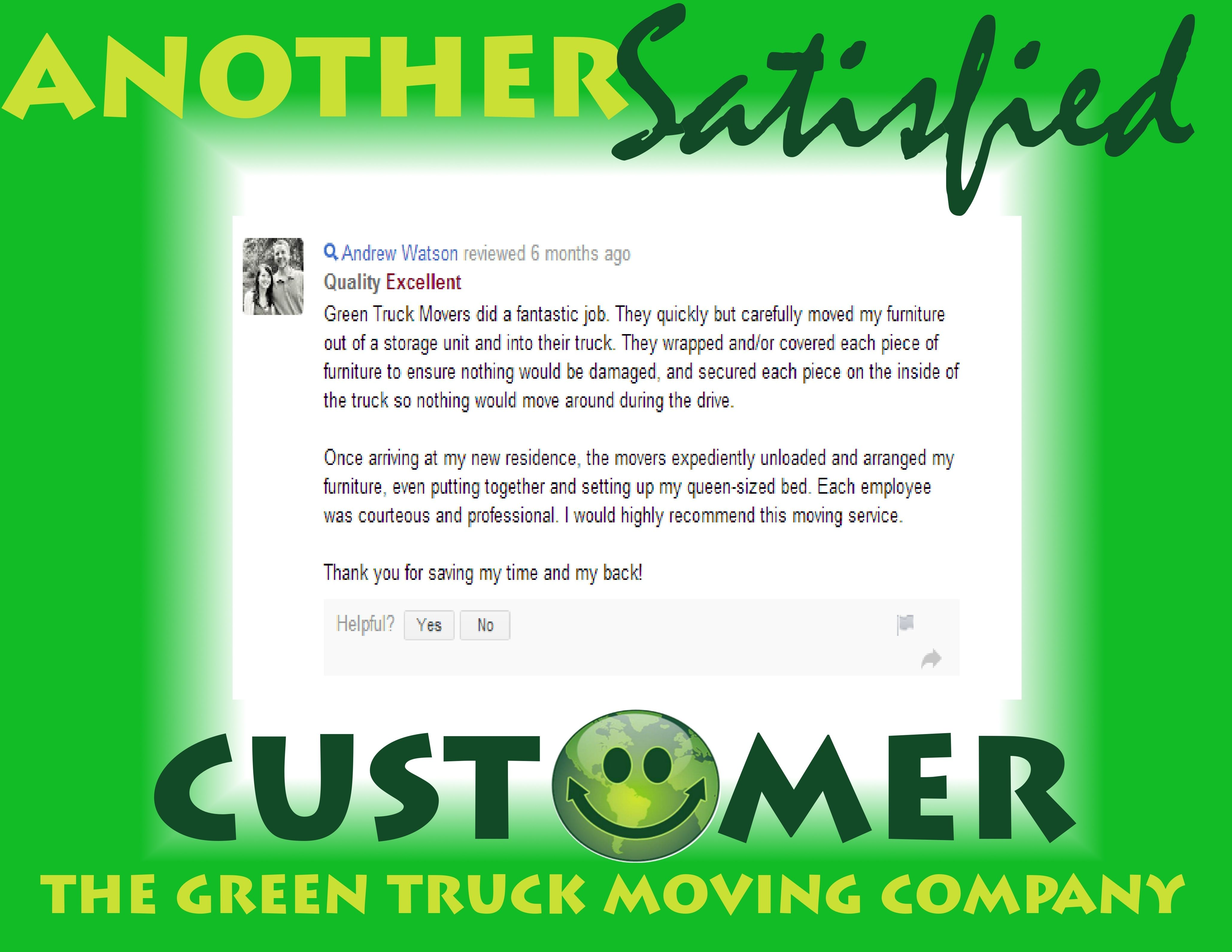 More Kind Words About Green Truck Movers Words Moving Company Moving Day