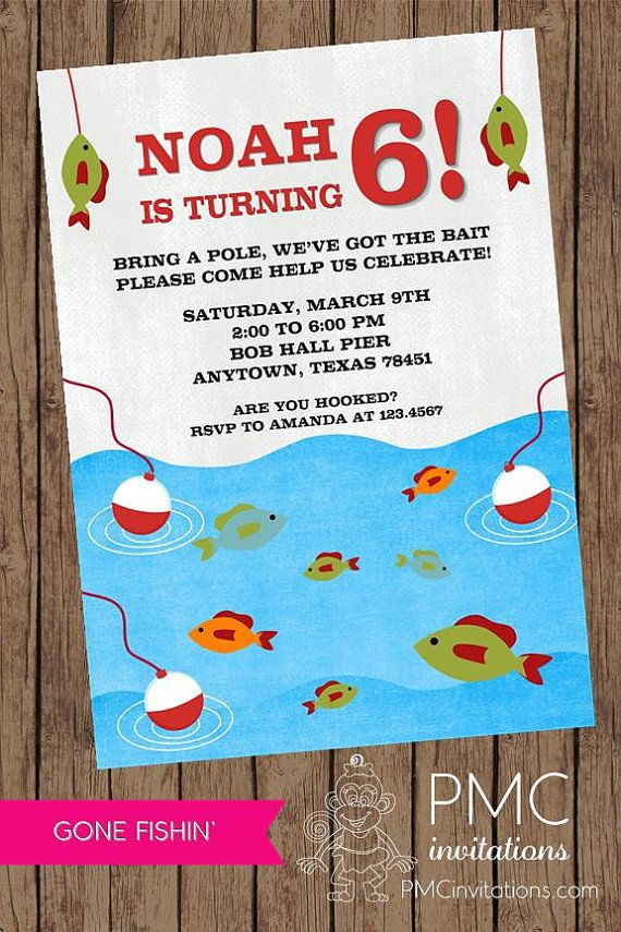 Gone Fishing Birthday Invitations 1 00 Each With Envelope On Etsy