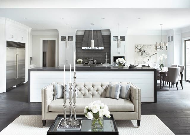 Love A Tufted Sofa In This Open Kitchen Living Space Transitional Room By Linda McDougald Design