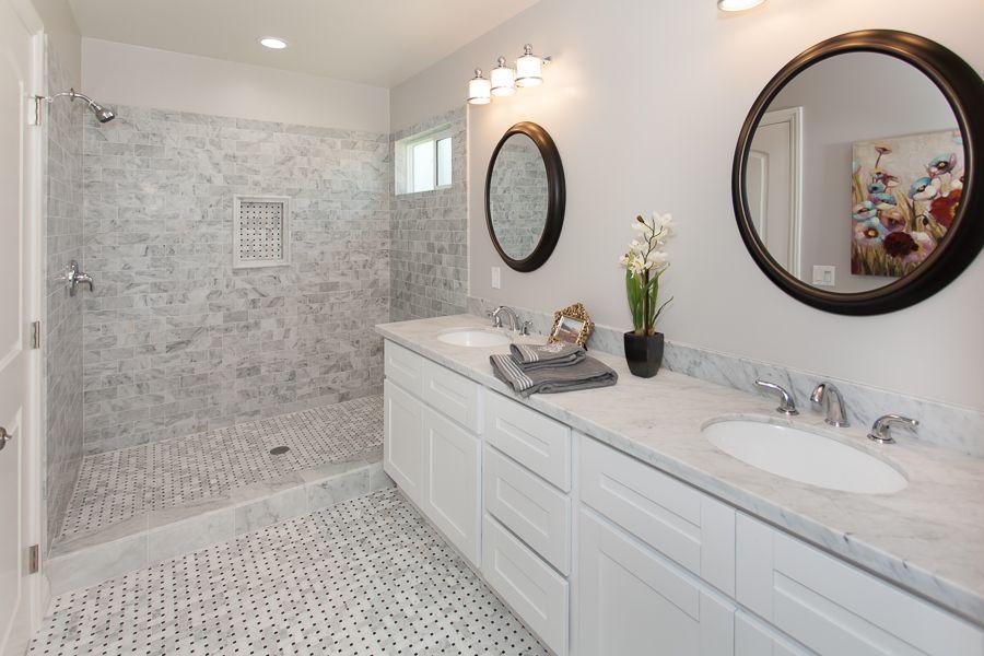Modern Bathroom Design White Cabinets Gray Tiles On The Shower