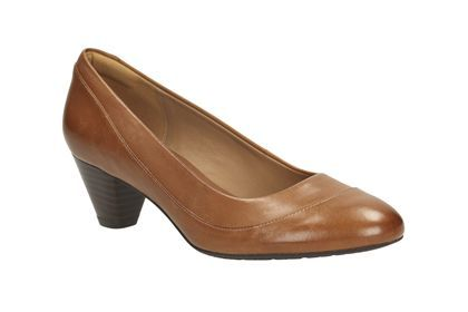 Clarks Denny Harbour Tan Leather Womens Smart Shoes