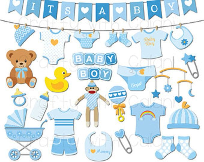 Baby Boy Clipart Boy Baby Shower Digital Clip Art Set Etsy Baby Boy Background Baby Shower Clipart Trendy Baby Onesies
