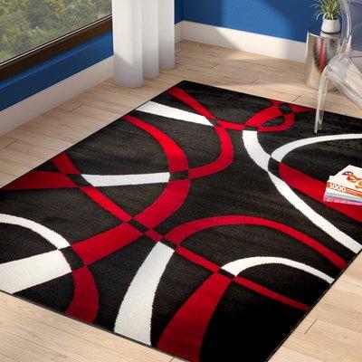 Ebern Designs Juelz Power Loom Polypropylene Dark Red Indoor Area