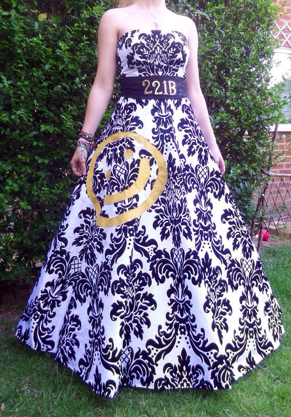 Ball gown inspired by the interior decor choices of BBC Ones smash hit Sherlock! Originally made and worn for a Comic Con Event in London the