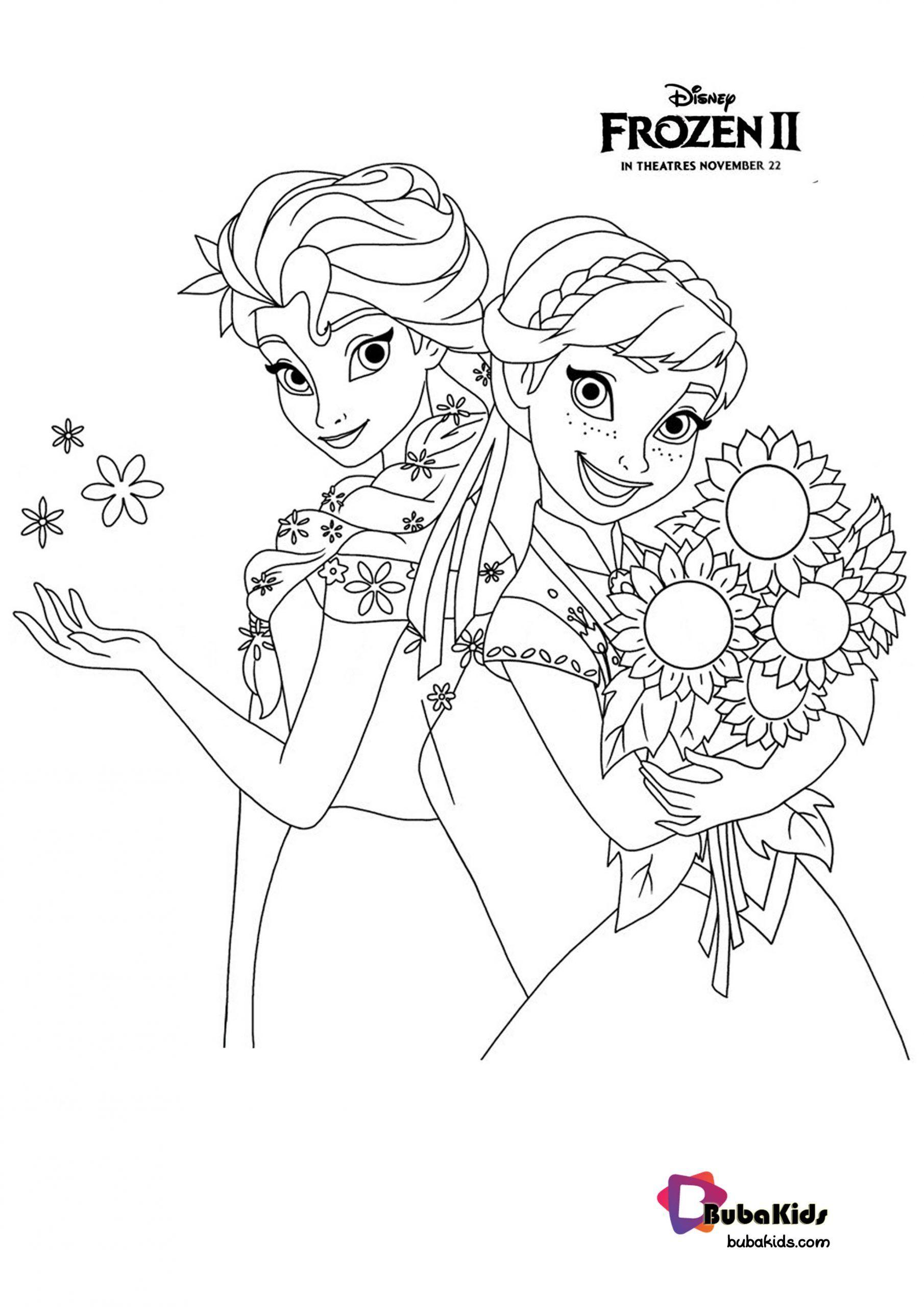 Frozen 2 Princess Anna Elsa Coloring Page Elsa Coloring Pages