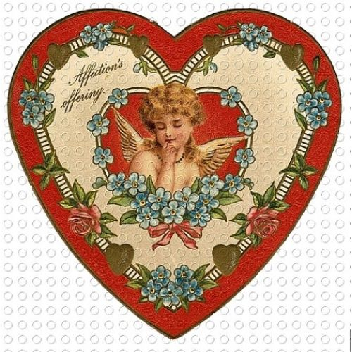 victorian hearts | Victorian Valentine Heart Shaped Cupid Angel ...