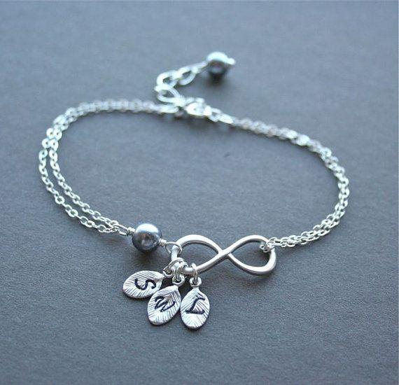 Infinity Bracelet Three Initials Personalized Infinity Symbol