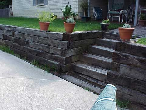 Margo Roger S Garden Outdoor Projects Landscaping Retaining Walls Railroad Tie Retaining Wall Backyard Landscaping