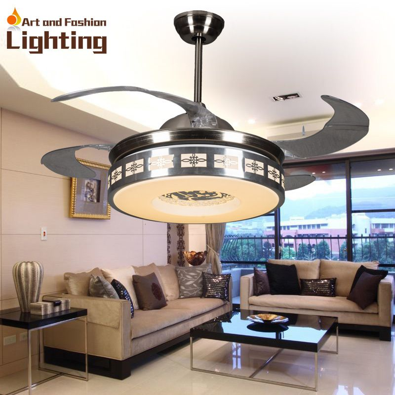 Luxury Ceiling Fan Lights Modern Fans 42 Inches 5 Invisible Acrylic Blade Living Room Bedroom