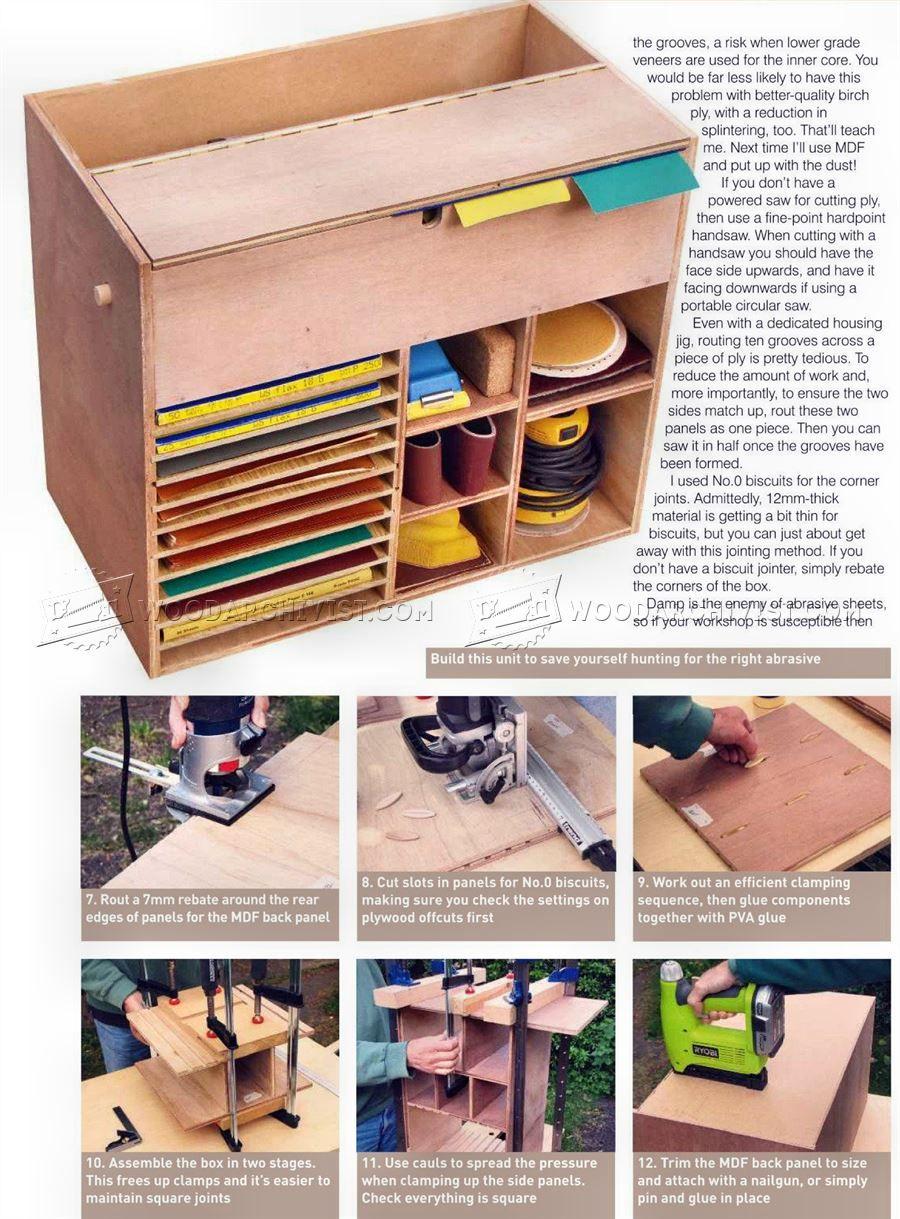 sandpaper storage cabinet plans - sanding wood workshop