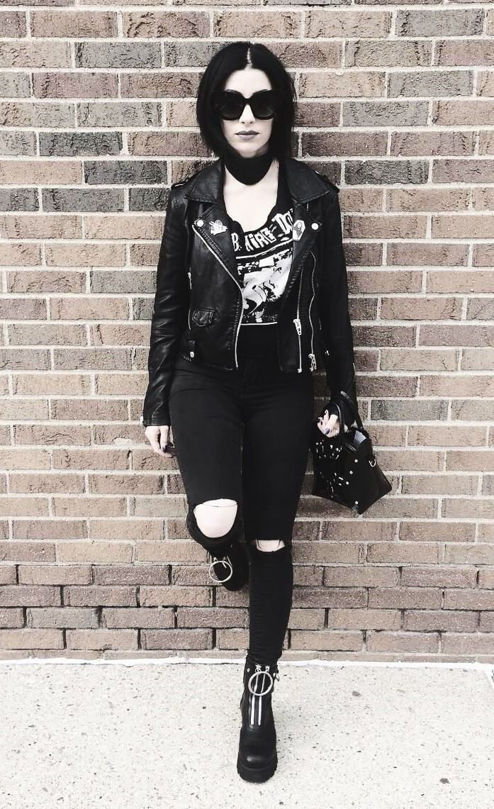 Oversized sunglasses with faux leather jacket, choker, Barb Wire Dolls tee, ripped pants & Bovva boots by jessicahazemua #casualgoth