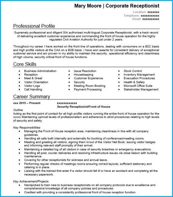 Awesome Cv Receptionist Template Ideas Receptionist Cv
