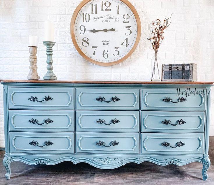 Blended Blue French Provinvial Dresser Makeover in 2020 ...