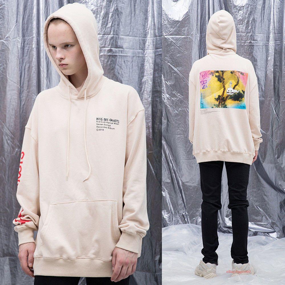 Kids See Ghosts Hoodie Sweatshirt Kayne West /& Kid Cudi Hip Hop Pullover