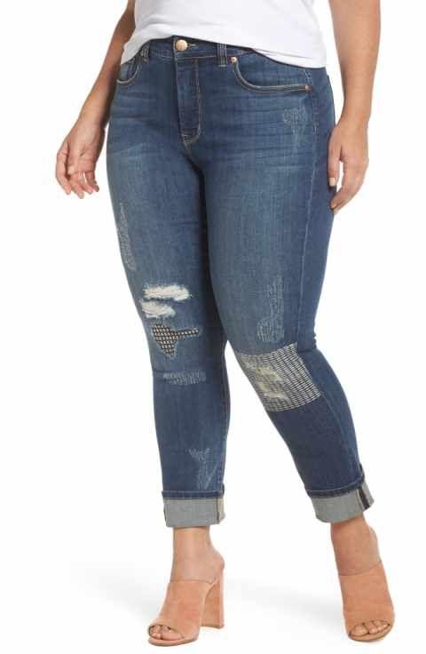 cbcc657540279 Melissa McCarthy Seven7 Stitch   Repair Roll Cuff Skinny Jeans (Nepal) (Plus  Size)