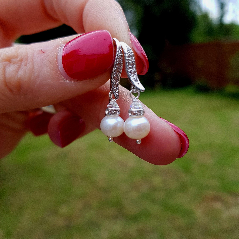 Freshwater pearl drop wedding earrings sterling silver cz