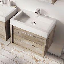 Tila Wall Mounted Bathroom Vanity Unit Light Sawn Oak Resin Basin 500mm Vanity Units Wall Mounted Vanity Basin Vanity Unit