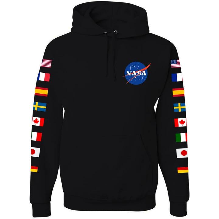 Photo of NASA Astronaut Group 16 Black Hoodie Sweatshirt with Flags on Sleeves