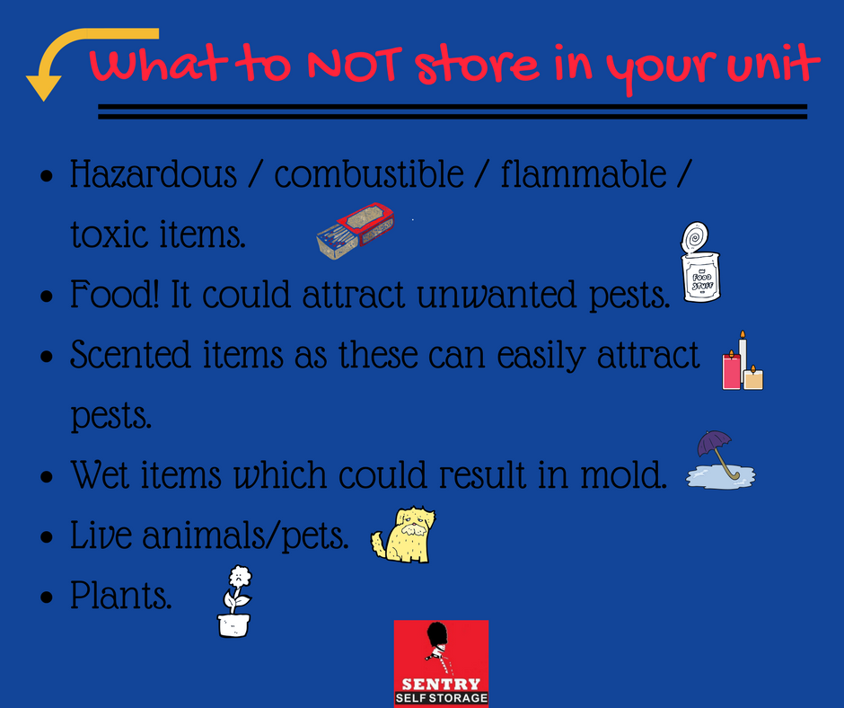 What Not To Store In Your Storage Unit Www Sentryselfstorage Net With Images Self Storage The Unit Storage