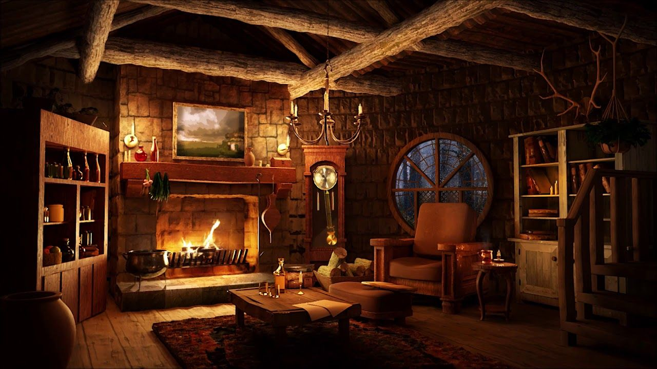 Cozy Hut Ambience Light Rain Sounds With Warm Fireplace Youtube Ambience Ambience Lighting Relaxing Rain Sounds