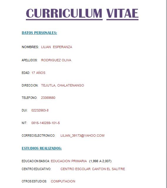 Resultado De Imagen Para Curriculum Simple