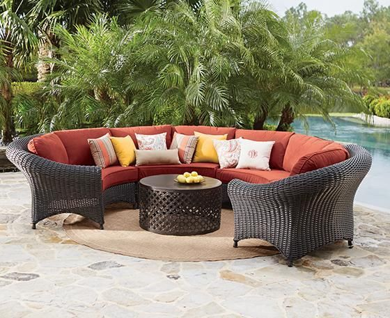 martha stewart living lake adela curved sectional set outdoor - Martha Stewart Outdoor Furniture