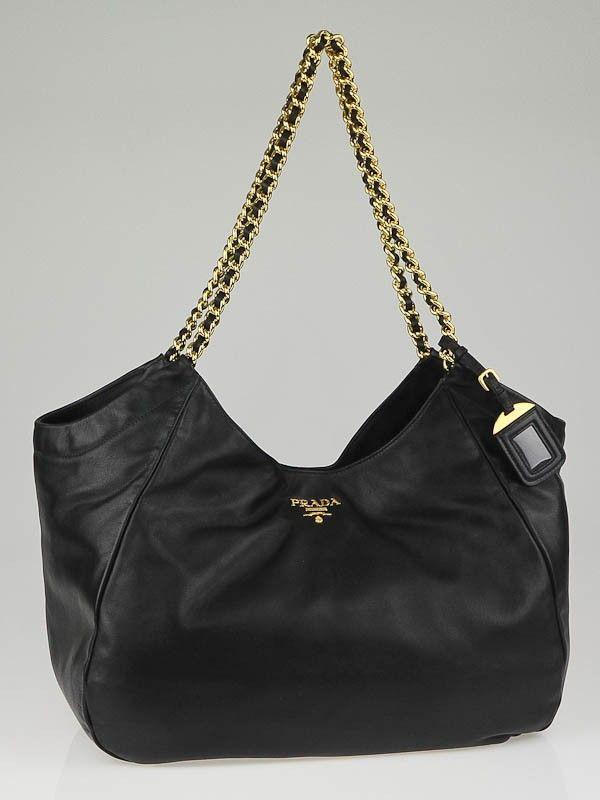 715990f297c3 Prada Black Soft Calfskin Leather Chain Tote Bag BR4826
