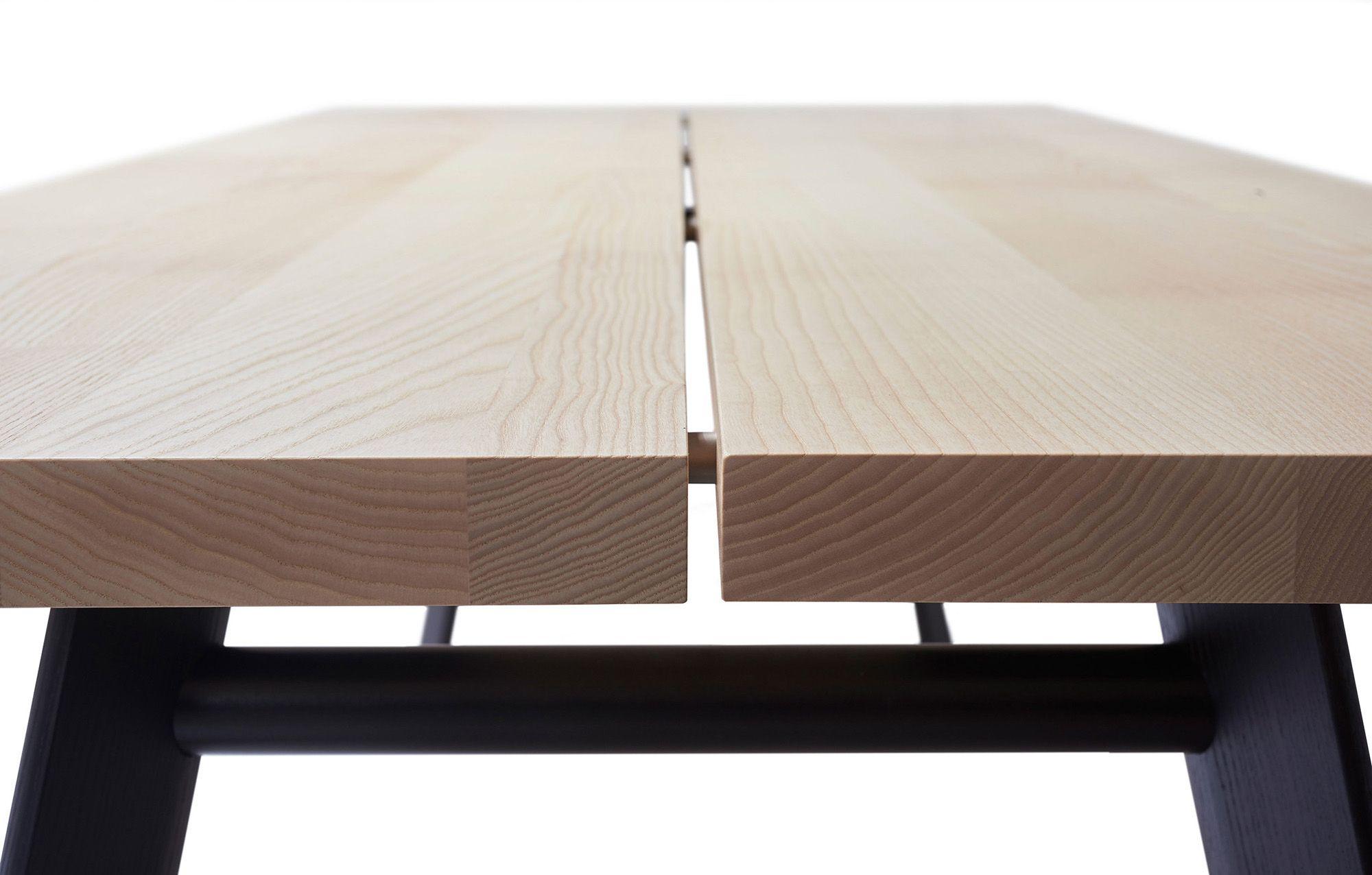 P68 table. Presented in white pigmented ash, legs made of black brushed ash, other wood types are possible. Design: Peter Fehrentz #massivholztisch, #massivholztische, #solidwoodtable, #solidwoodtables, #madeingermany, #esstisch, #esstische, #diningtable, #diningtables, #designermöbel